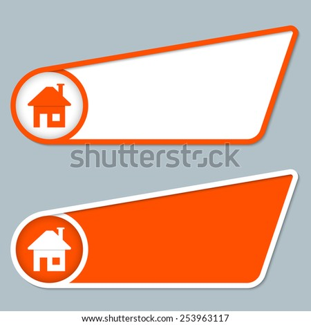 two orange boxes for any text with home symbol - stock vector
