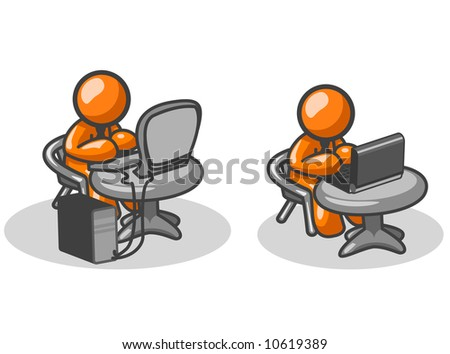 Two orange men on two computers, one  a laptop, and the other a tower. - stock vector