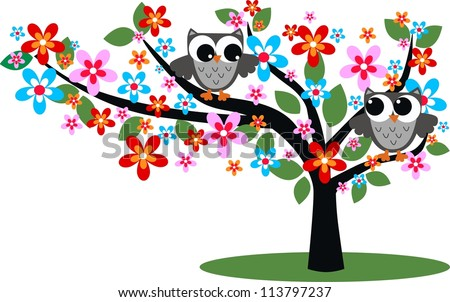 two owls sitting in a tree - stock vector