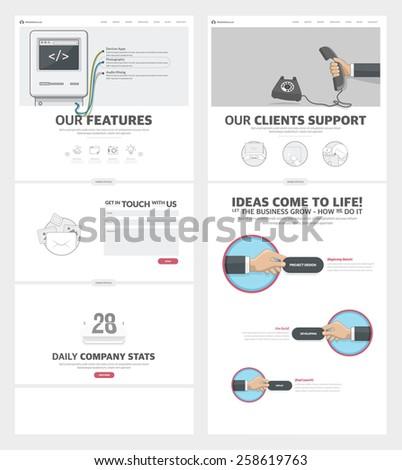 Two page Website design template with concept icons and avatars for business company portfolio  - stock vector