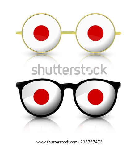 Two pair of trendy sunglasses with Japan national flag lens. - stock vector
