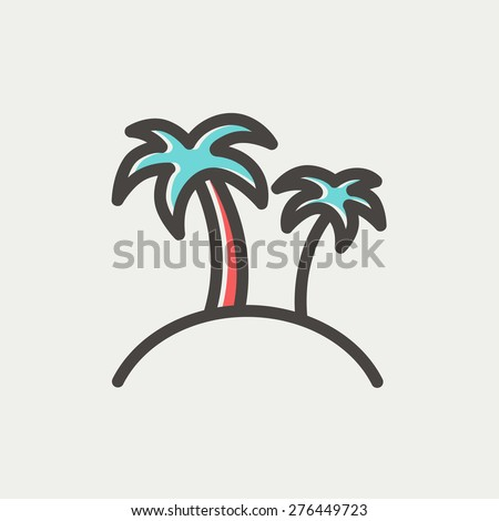 Two palm trees icon thin line for web and mobile, modern minimalistic flat design. Vector icon with dark grey outline and offset colour on light grey background. - stock vector