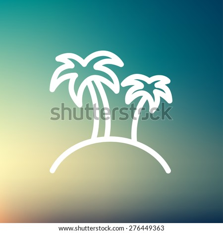 Two palm trees icon thin line for web and mobile, modern minimalistic flat design. Vector white icon on gradient mesh background. - stock vector