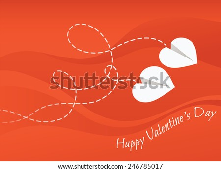 Two paper airplanes in the shape of heart. Vector illustration. Happy Valentine's Day card.  - stock vector