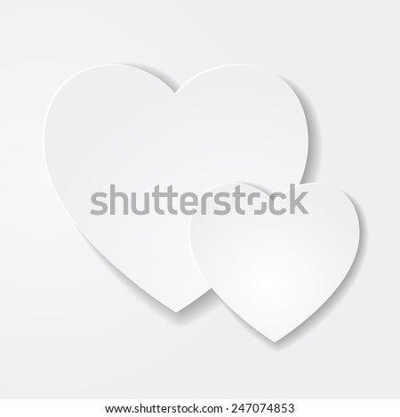 Two paper hearts. Soft minimalistic Valentine's day card. Paper hearts cut from paper. Vector abstract background decoration with hearts. Flat design.  - stock vector