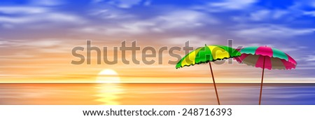 Two Parasols on a Beach with Sunset, Sunrise. Vector EPS 10 - stock vector