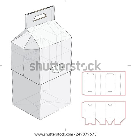 Two Parts Carrier Box with Ear Lock and Die Cut Template - stock vector
