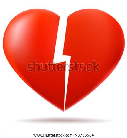 Two parts of broken heart - stock vector