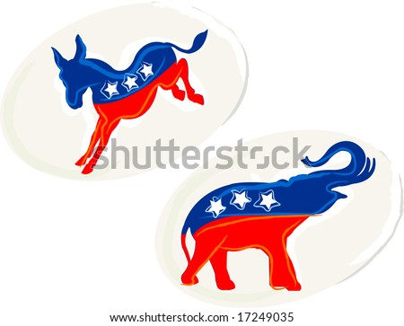 Two party stickers for the upcoming elections. - stock vector