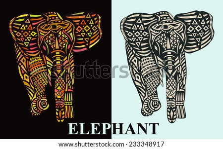 Two patterned silhouette of an elephant. Elephant with colorful pattern on a dark background and an elephant with a uniform pattern on a light background. Vector illustration. - stock vector