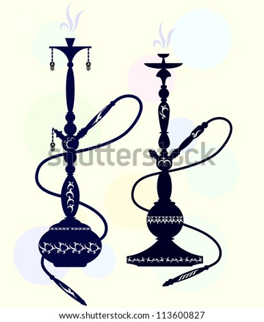 two patterns with oriental shisha - stock vector
