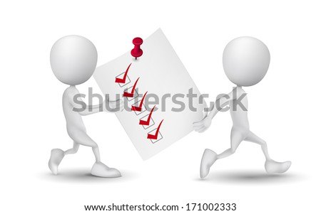 two people carried a check list - stock vector