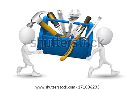 two people carried a toolbox with tools - stock vector