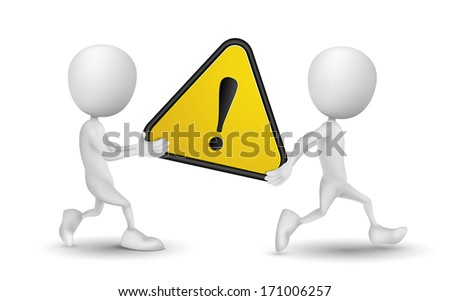 two people carried a warning sign - stock vector