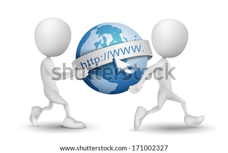two people carried an internet model - stock vector