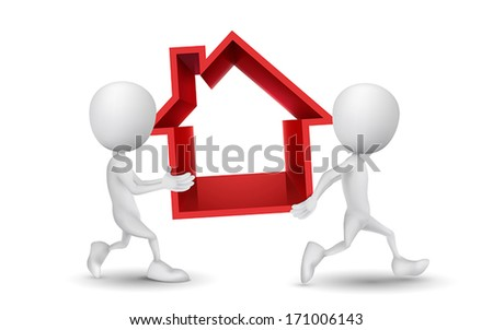 two people carried the house - stock vector