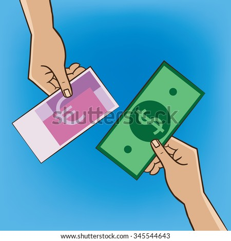 Two people changing money - replacement and exchange concept - stock vector