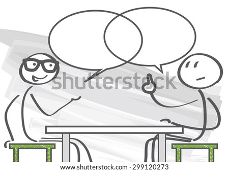 two people discussing the pros and cons - stock vector