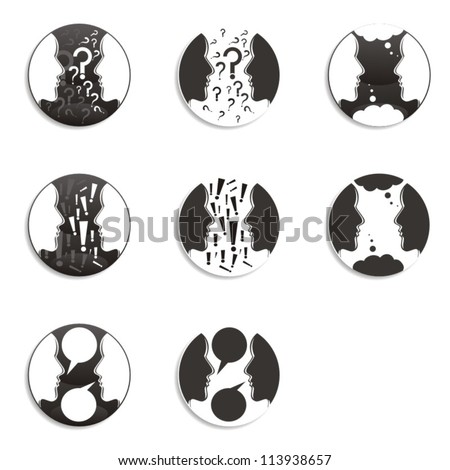 two people face to face communication icon set - stock vector
