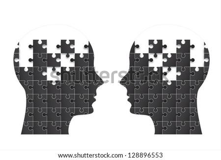 Two people face with puzzle in signal of think vector illustration - stock vector