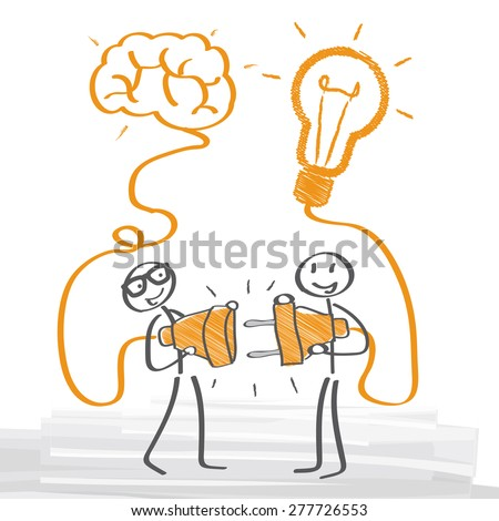 two people have an idea - stock vector