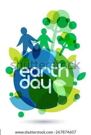 Two people silhouettes and green trees on the Earth. Abstract vector illustration. Ecology background, concept for save earth day.  - stock vector