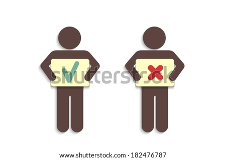Two persons with positive and negative symbols.  Vector eps10 - stock vector
