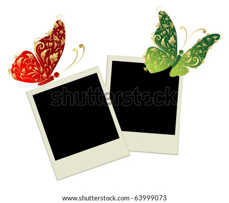 Two photo frames with butterfly decoration - stock vector