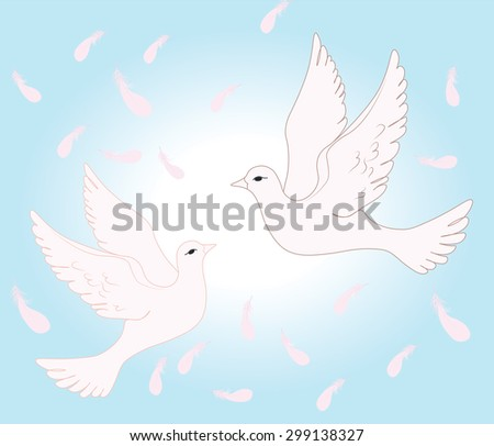 Two pigeons flying in sky of love. Vector   - stock vector