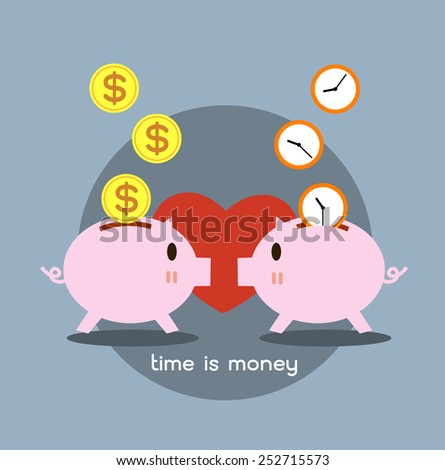 two Piggy bank in love - saving money and saving time. - stock vector