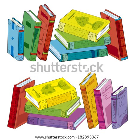 Two piles of books: one is represented mirror and in other colour scale. Illustration done in cartoon style. Set of piles of books -  Illustration.  - stock vector