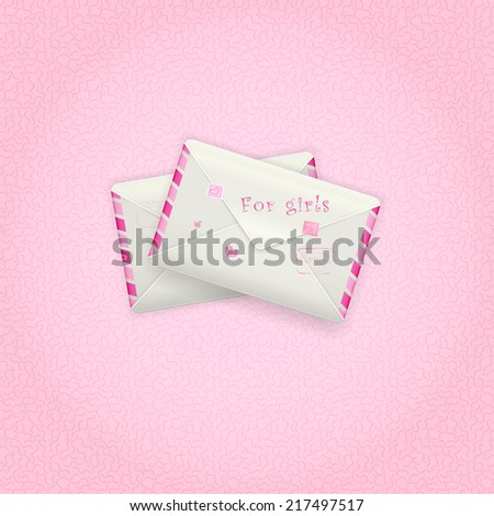 two pink envelopes with rosy stamps, mail for girls, lovely mail, vector - stock vector