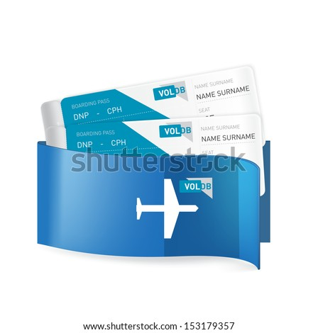 two plane tickets in corporate envelop isolated on white background - stock vector