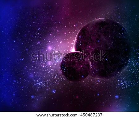 two planets in the night sky space star - stock vector