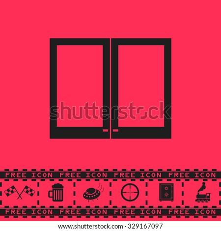 Two plastic Window. Black flat vector icon and bonus symbol - Racing flag, Beer mug, Ufo fly, Sniper sight, Safe, Train on pink background - stock vector