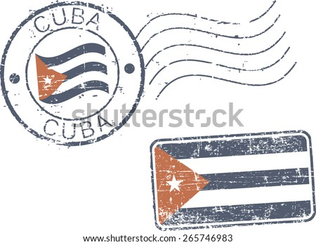 Two postal grunge stamps 'Cuba' - stock vector