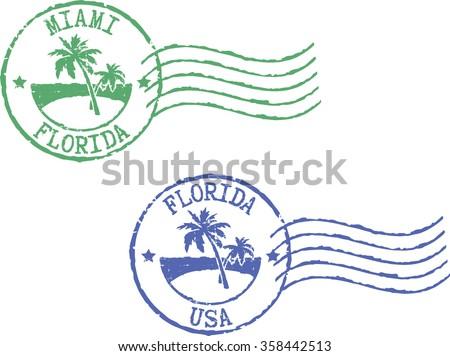 Two postal grunge stamps 'Miami-Florida' and 'Florida-USA'. White background. - stock vector