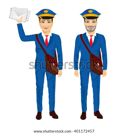 two postmen with bags posing - stock vector