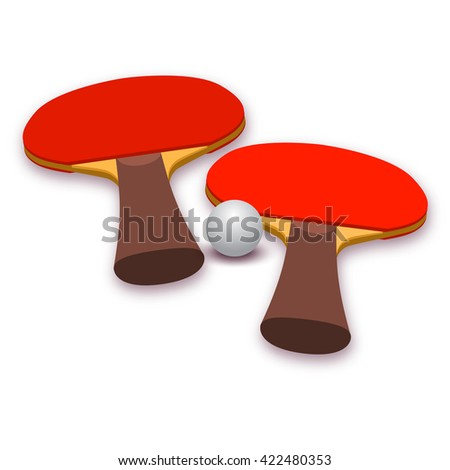 Two rackets and ball for playing table tennis. Ping pong. Illustration on white background. Sport design - stock vector