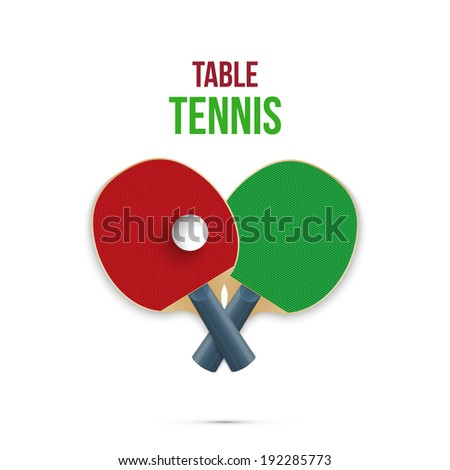 Two rackets for playing table tennis isolated on white background. Vector illustration - stock vector