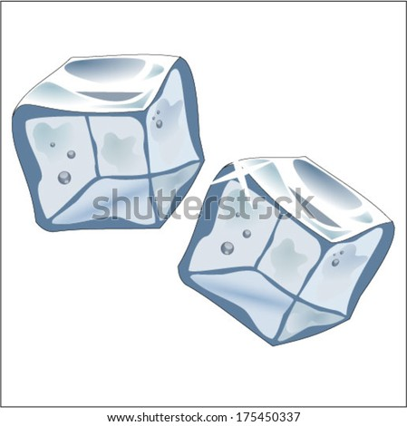 Two real ice cubes, vector, on white backround - stock vector