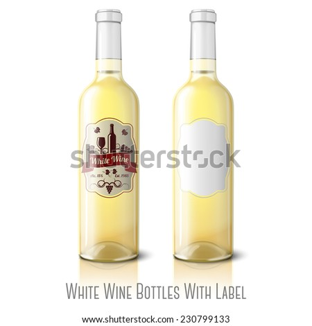 Two realistic bottles for white wine with labels isolated on white background with reflection and place for your design and branding. Vector - stock vector