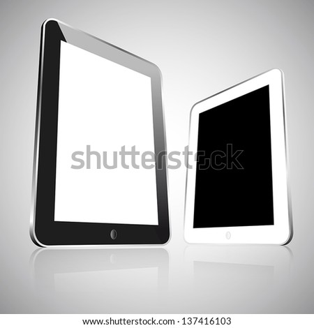 Two realistic empty vector black and white tablets isolated - stock vector