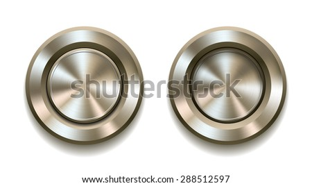 Two realistic metal buttons with circular processing showing push in and push out positions. Vector illustration - stock vector
