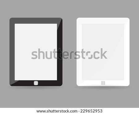Two realistic tablet pc concept - black and white with blank screen. Highly detailed responsive realistic small tablet mockup isolated on gray background. Vector illustration EPS10 - stock vector