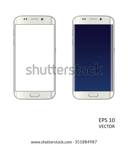 Two realistic vector smartphones on white background. - stock vector