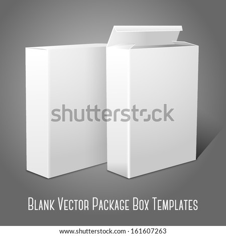 Two realistic white blank paper packages for cornflakes, muesli, cereals etc. Isolated on grey background for design and branding. Vector - stock vector
