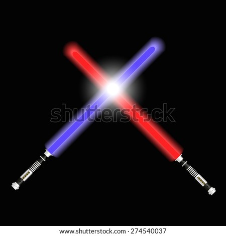 two red and blue light future swords fight eps10 - stock vector