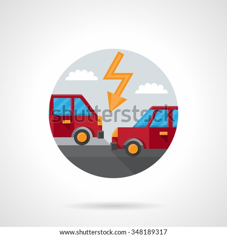 Two red automobiles on a road and lightning. Car crash. Auto insurance button. Round flat color style vector icon. Single web design element for mobile app or website. - stock vector