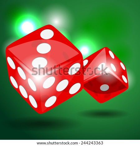 Two red dice with shadow on green background illustration vector - stock vector